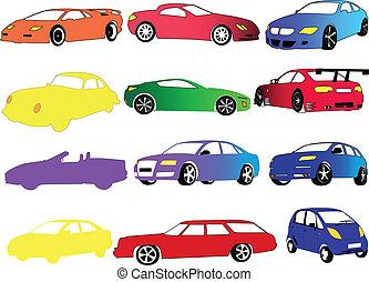 auto, verzameling, in, anders, kleur