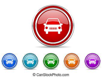 auto, vettore, icone