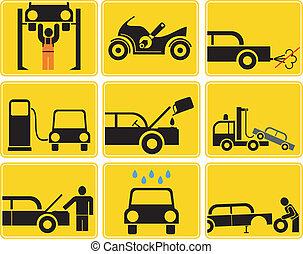auto, vettore, -, servizio, icone