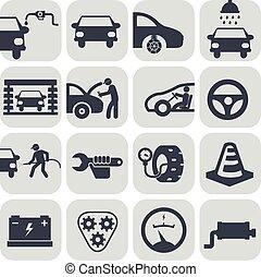 auto, vettore, set, automobile, icone
