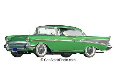 3D vintage automobile white background