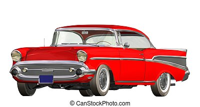 auto vintage - 3D vintage automobile white background