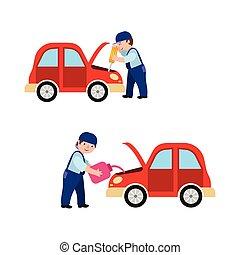 auto, voiture, huilage, mécanicien, fixation