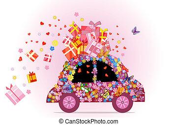 auto, voll, von, geschenke