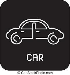 auto, -, vrijstaand, vector, pictogram