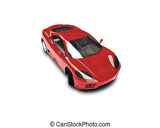 auto, vrijstaand, voorkant, fantastisch, rood, aanzicht