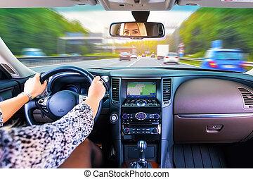 auto vrouw, jonge, geleider, snelweg