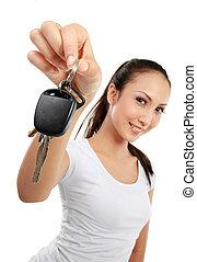 auto vrouw, vasthouden, klee