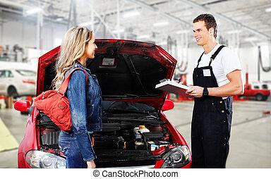 auto vrouw, werktuigkundige, client.