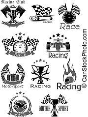 auto, wedloop, of, sportende, motor wedrennen, club, vector, iconen