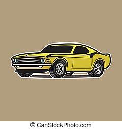 auto, weißes, freigestellt, karikatur, hintergrund.