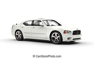 auto, weißes, seitenansicht