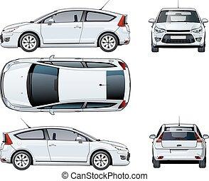 auto, weißes, vektor, freigestellt, schablone