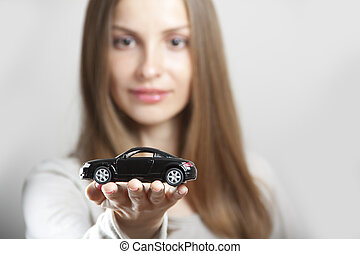 auto, wenig, frau besitz