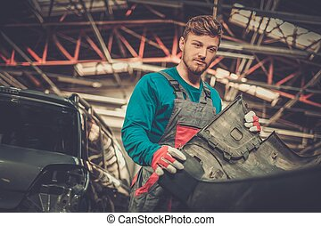 auto, werkstatt, mechaniker, stoßstange