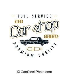 auto, winkel, embleem