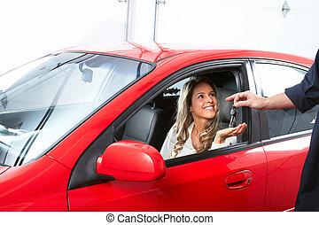 auto, woman., klant, werktuigkundige