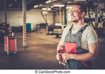 auto, workshop, serviceman