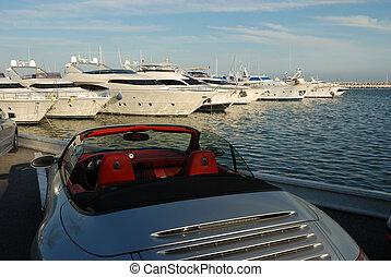 auto, yacht, luxus