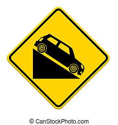 auto, zeichen, gehend hinab, steigung, hügel