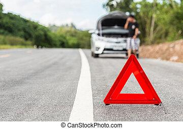 auto, zeichen, notfall, silber, kaputte , halt, rotes