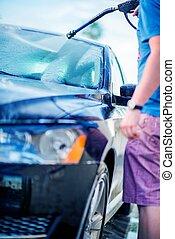 auto, zelfbediening, wassen
