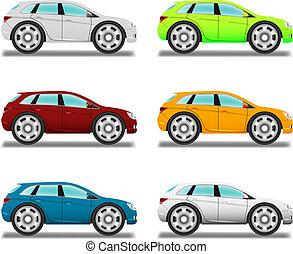 auto, zes, colors., crossover., groot, spotprent, wielen