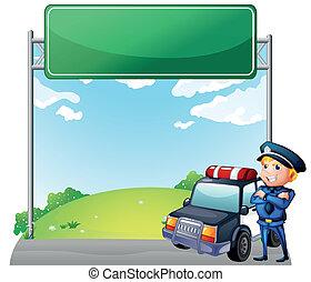 auto, zijn, patrouille, signage, politieagent