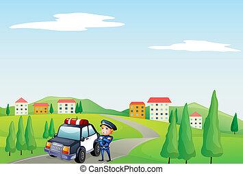 auto, zijn, patrouille, straat, politieagent