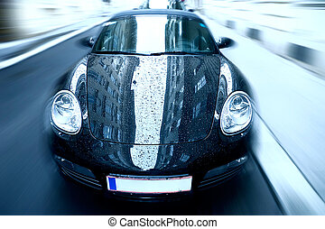 auto, zoom, effect, verdoezelen, sportende, bijzondere