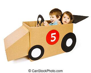 auto, zuster, karton, broer, geleider