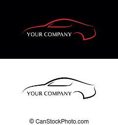 auto, zwart rood, logos