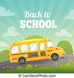 autobús amarillo de la escuela, y, text.