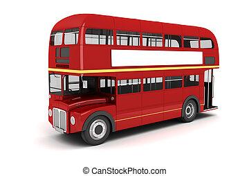autobús, blanco, londres, plano de fondo, 3d