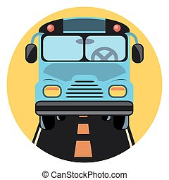autobús, círculo, shadow.eps, icono