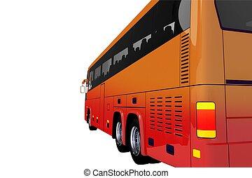 autobús, entrenador, lado, rojo, vista