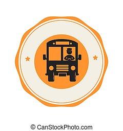 autobús, escuela, emblema, icono