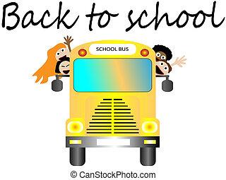 autobús, escuela, feliz, espalda, niños