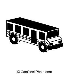 autobús, escuela, isométrico, icono
