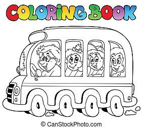 autobús, escuela, libro colorear