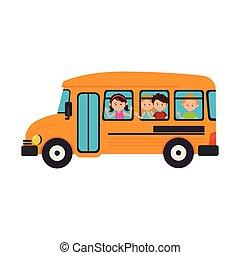 autobús, escuela, transporte, icono