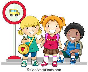 autobús, esperar, escuela