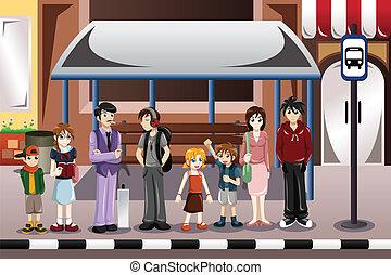 autobús, esperar, gente