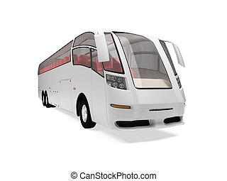 autobús, futuro, aislado, vista