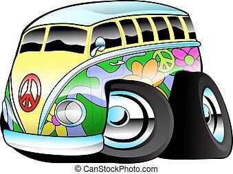 autobús, hippie, colorido, tablista