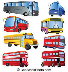 autobús, icono, conjunto
