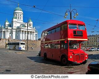 autobús, inglés, rojo, helsinki