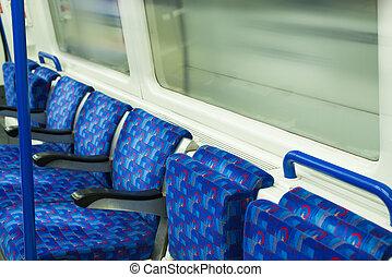 autobús, interior, en, público, transport.