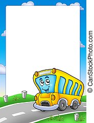 autobús, marco, escuela, amarillo