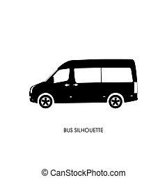 autobús, negro, silueta, en, un, fondo blanco